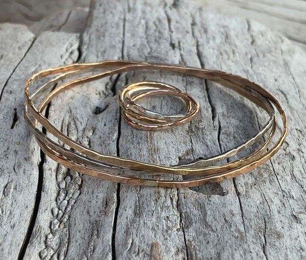 Mixed Metal Hammered and Connected Three Bangle Set