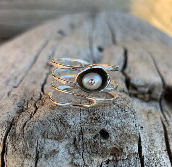 Sterling Silver Wrap Ring with Fresh Water Pearl Set in a Pod