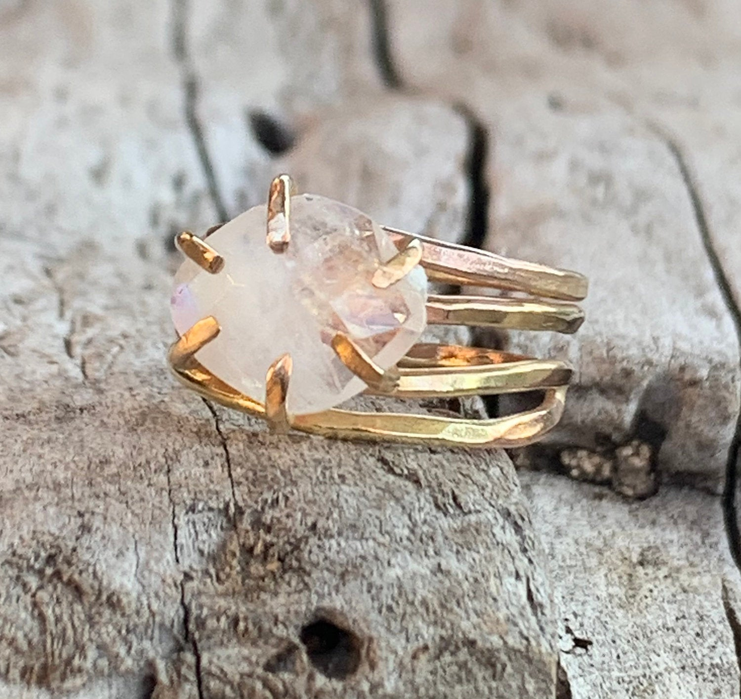 Handmade 14k Gold Fill Wrap Style Ring with a Faceted Prong Set Moonstone