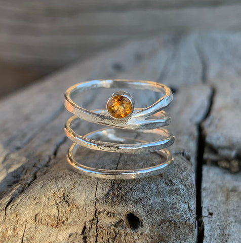 Sterling Silver Wrap Ring with Tube Set Citrine