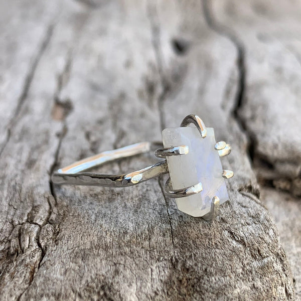 Handmade Sterling Silver Square Ring with a Step Cut Prong Set Moonstone
