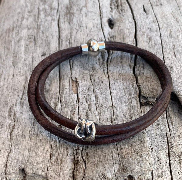 Handmade Sterling Silver Knot Double Wrap 4MM Leather Bracelet with Magnetic Closure