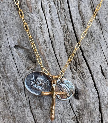 Memorial 14K Gold Fill Paper Clip Chain Necklace with Bronze Cross and Sterling Feather and Angel Charms