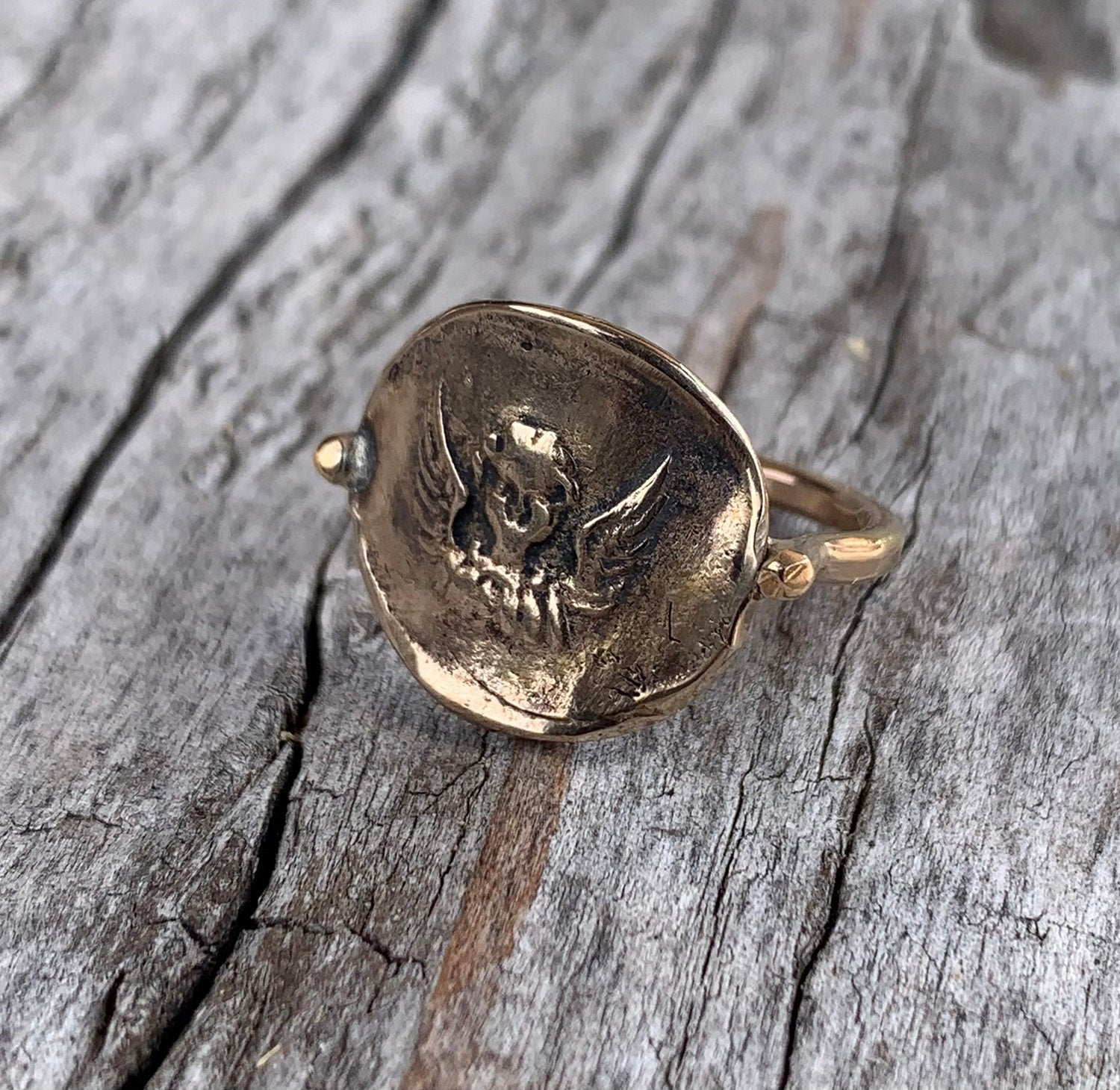 Bronze Guardian Angel Charm Ring with 14K Gold Fill Band