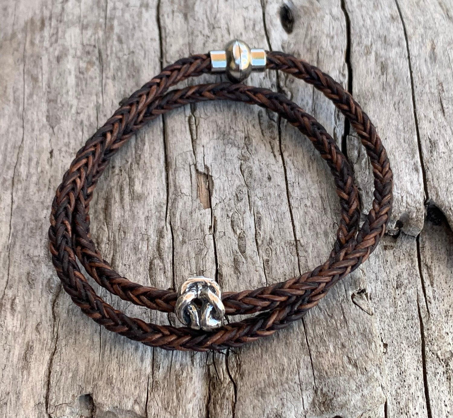 Handmade Sterling Silver Knot Double Wrap 4MM Braided Leather Bracelet with Magnetic Closure