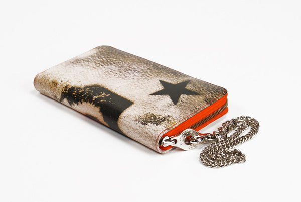 Leather Wallet Kiss Graffiti Print Zip Around with Chain Wristlet