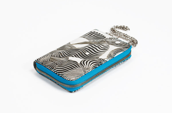 Leather Hand Wallet Zebra Graffiti Print Zip Around with Wristlet Chain