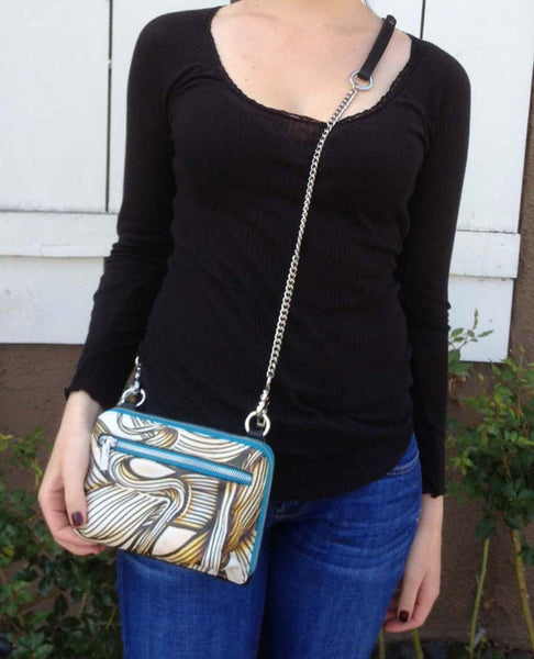 Cross Body Chain Zip Around iPhone Wallet Purse with Graffiti Printed Leather
