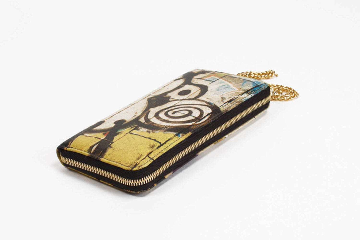 Leather Wallet Kat Graffiti Print Zip Around with Chain Wristlet