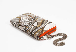 Leather Wallet Swirl Graffiti Print Zip Around with Chain Wristlet