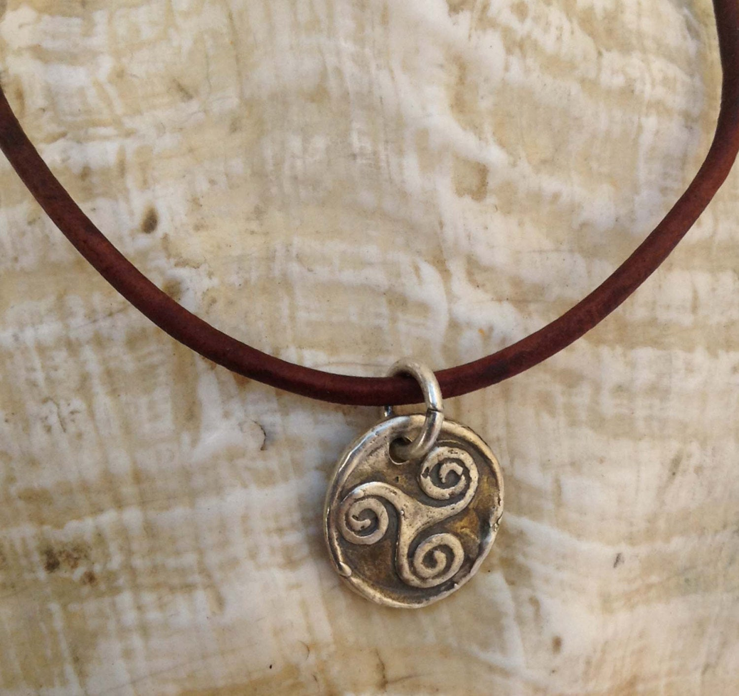 Handmade Sterling Silver Celtic Triple Spiral Charm Adjustable Leather Bracelet