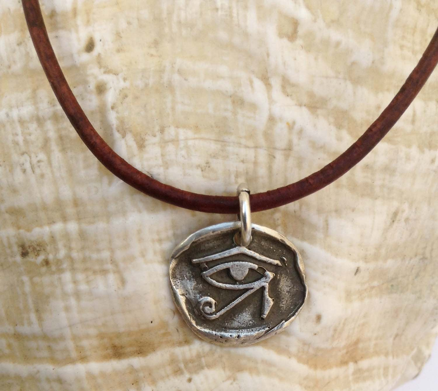 Handmade Sterling Silver Eye of Ra Charm Adjustable Leather Bracelet