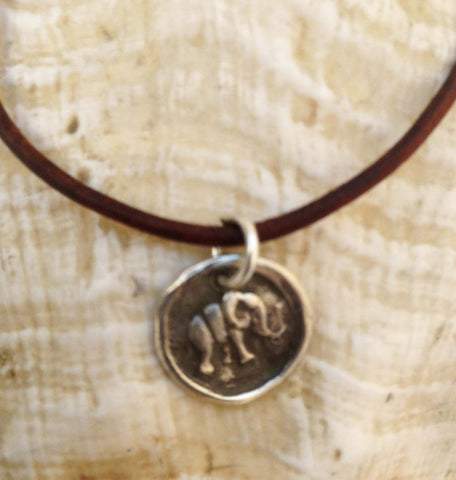 Handmade Sterling Silver Elephant Charm Adjustable Leather Bracelet