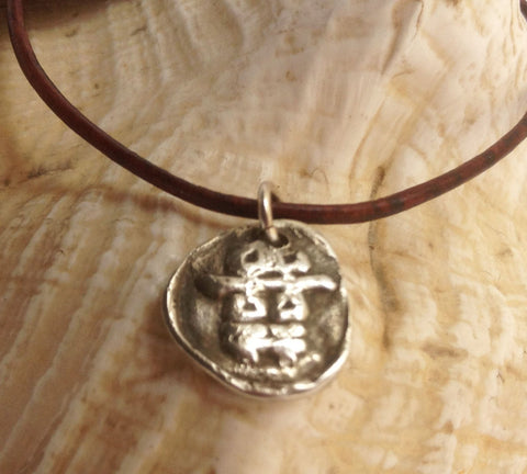 Handmade Sterling Silver Double Happiness Charm Adjustable Leather Bracelet