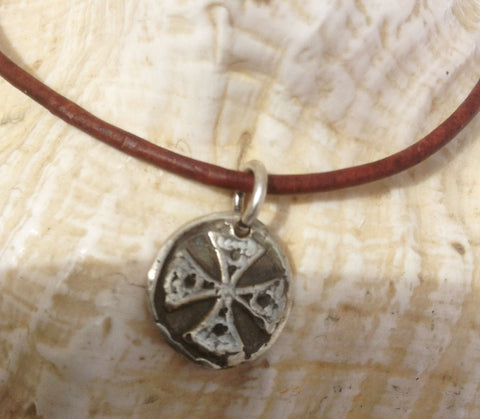 Handmade Sterling Silver Celtic Warrior Charm Adjustable Leather Bracelet