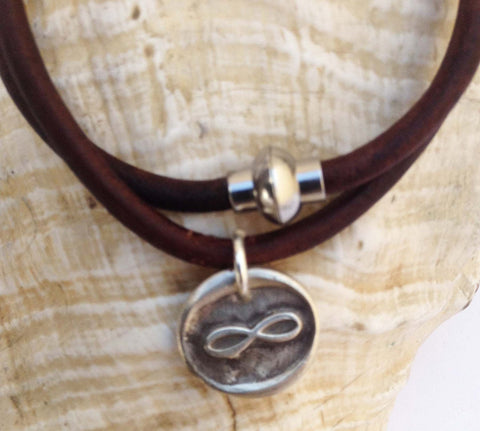 Handmade Sterling Silver Infinity Symbol Charm Double Wrap 4MM Leather Bracelet with Magnetic Closure