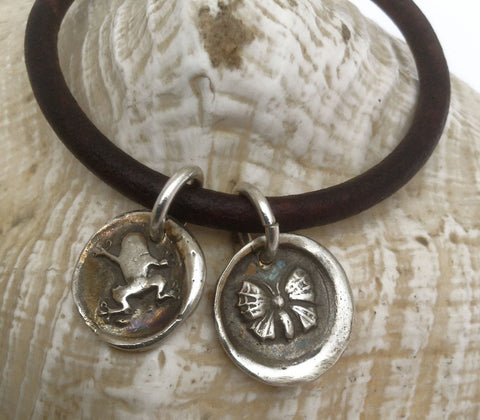 Handmade Sterling Silver Frog & Butterfly Charms 4MM Leather Bracelet with Magnetic Closure
