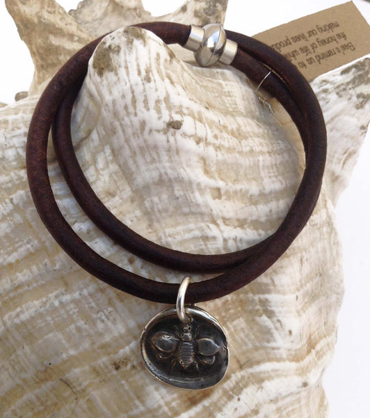 Handmade Sterling Silver Bee Charm Double Wrap 4MM Leather Bracelet with Magnetic Closure