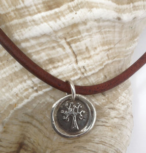 Handmade Sterling Silver Tree of Life Symbol Charm Necklace 4MM Leather with Magnetic Closure