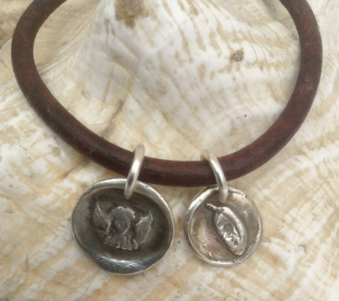 Handmade Sterling Silver Angel & Feather Charms 4MM Leather Bracelet with Magnetic Closure