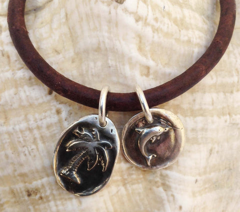 Handmade Sterling Silver Palm Tree & Dolphin Charms 4MM Leather Bracelet with Magnetic Closure
