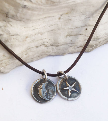 Handmade Sterling Silver Crescent Moon & Star 1.5MM Leather Charm Necklace with Fresh Water Pearl Closure
