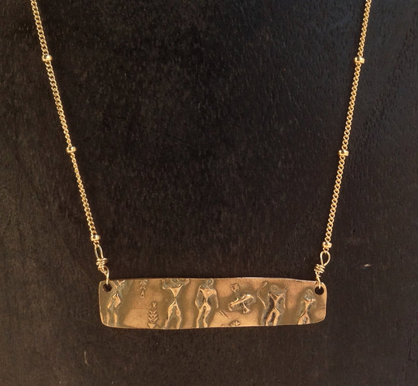 Handmade Bronze Ancient People Bar Necklace on Gold Fill Saturn Chain