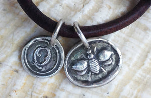 Handmade Sterling Silver Queen Bee Charms on 4MM Leather Bracelet with Magnetic Closure