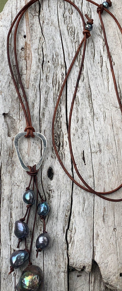 Handmade Sterling Silver Organic Triangle Leather Adjustable Long Lariat Necklace with Freshwater Pearl Cluster