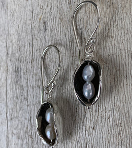Sterling Silver Two Peas in a Pod Earrings with Two Seed Pearls