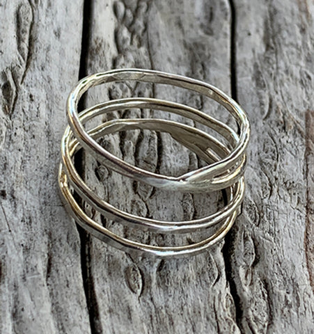 Silver Twig Wrap Rings