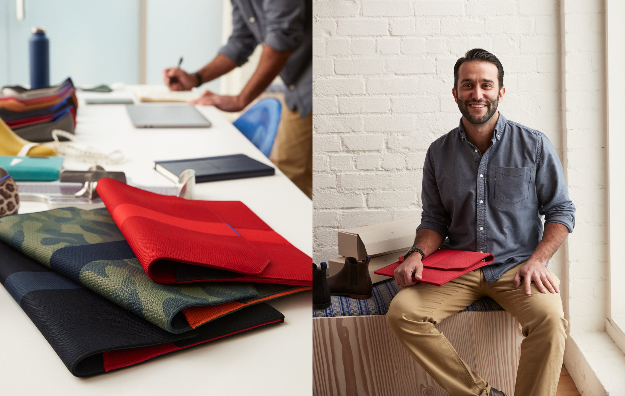 On the left, a table with design materials and a stacked assortment of The Portfolio. On the right, a man sitting on a bench holding The Portfolio in Ruby Red, in front of a white brick background.