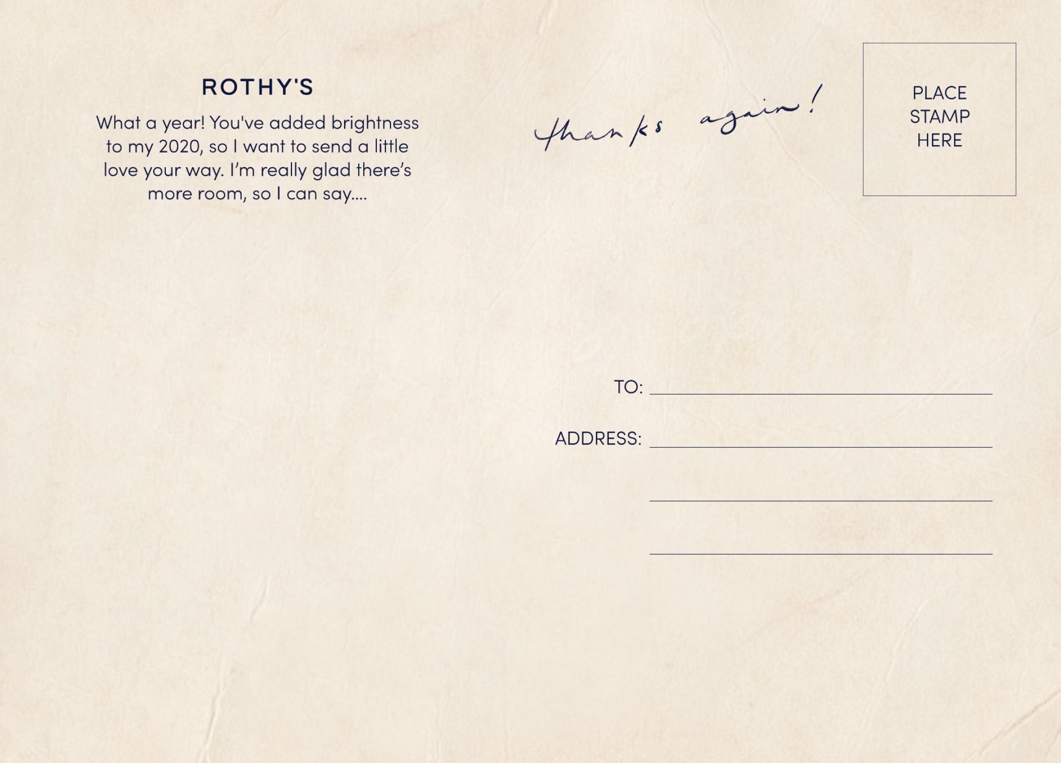 """Rothy's """"Thank you"""" postcard"""