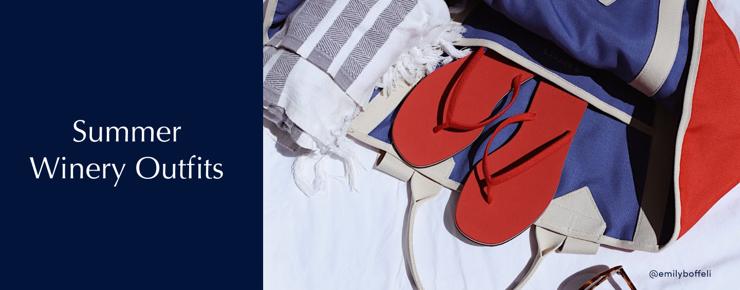 """Text saying """"Summer Winery Outfits"""", with a close-up of Rothy's red flip flops next to it."""