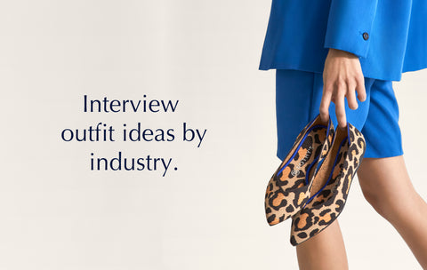 """Text saying """"Interview outfit ideas by industry"""", against a background image of a model holding The Point in Big Cat."""
