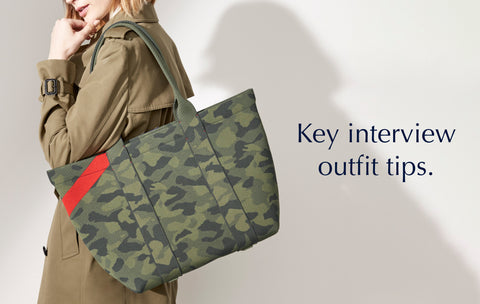 """Text saying """"Key Interview Outfit Tips"""", against a background image of a model holding The Essential Tote in Sage Camo."""
