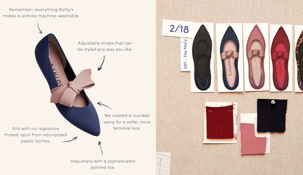 On the left, a diagram of The Mary Jane in Sapphire. On the right, the design board and color swatches for The Mary Jane.