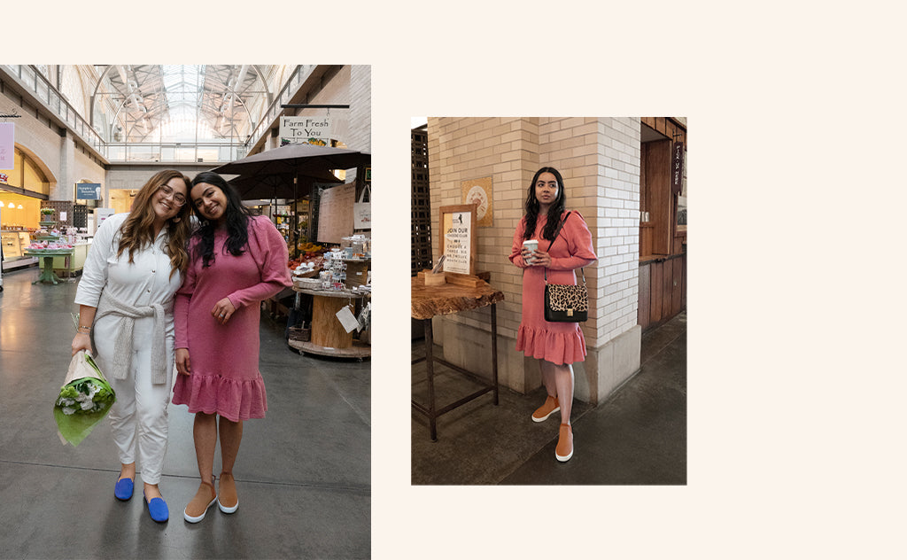 Images showing Rothy's employees wearing The Loafer in Cornflower and The Chelsea in Fawn as they tour the ferry building.