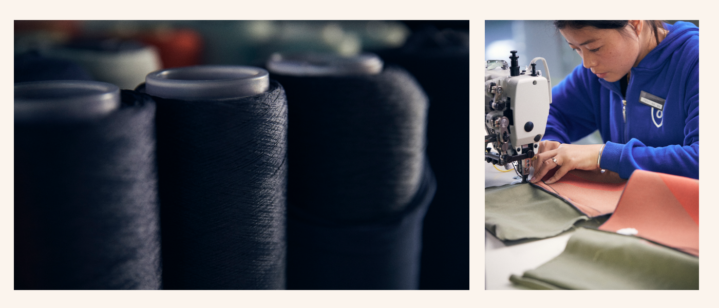 On the left, spools of Rothy's signature thread. On the right, one of our team members knitting our bags together.
