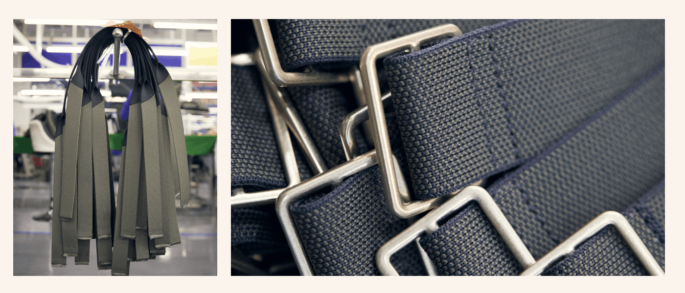 The top handles and straps of our bags in our factory.