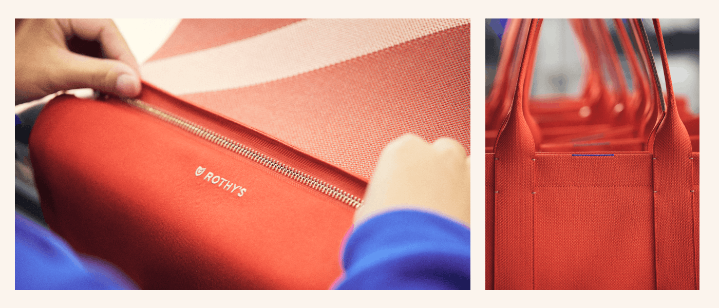 Close up details of The Essential Tote in Bright Poppy.
