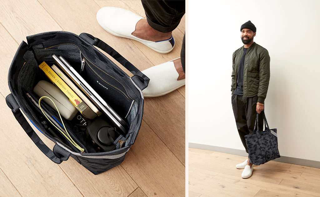 On the left, a topdown view of The Essential Tote in Slate Camo, shown with a camera, books and notebooks inside. On the right, Design Manager Lavion holding The Essential Tote in Slate Camo.