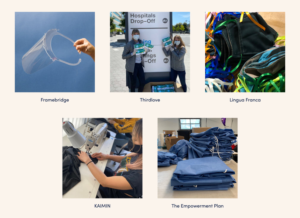 Collage of images showing face shields, mask donations and the production of personal protective equipment with the brands Framebridge, Thirdlove, Lingua Franca, KAIMIN and The Empowerment Plan listed.