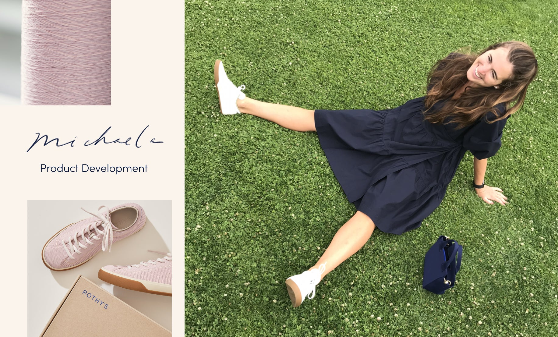 "Image with the text ""Michaela—product development"", with a collage of images showing her sitting in the grass wearing The Lace Up in Vanilla, a spool of lilac thread, and The Lace Up in Lilac shown with a Rothy's shoebox."