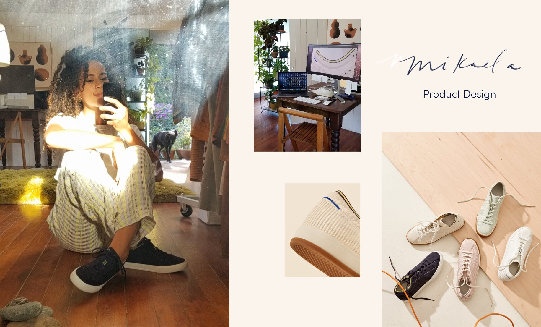 "Image with the text ""Mikaela—product design"", with a collage of images showing her workstation, her wearing The Lace Up in Navy,  the heel design detail of The Lace Up, and an assortment of lace up sneaker colors."