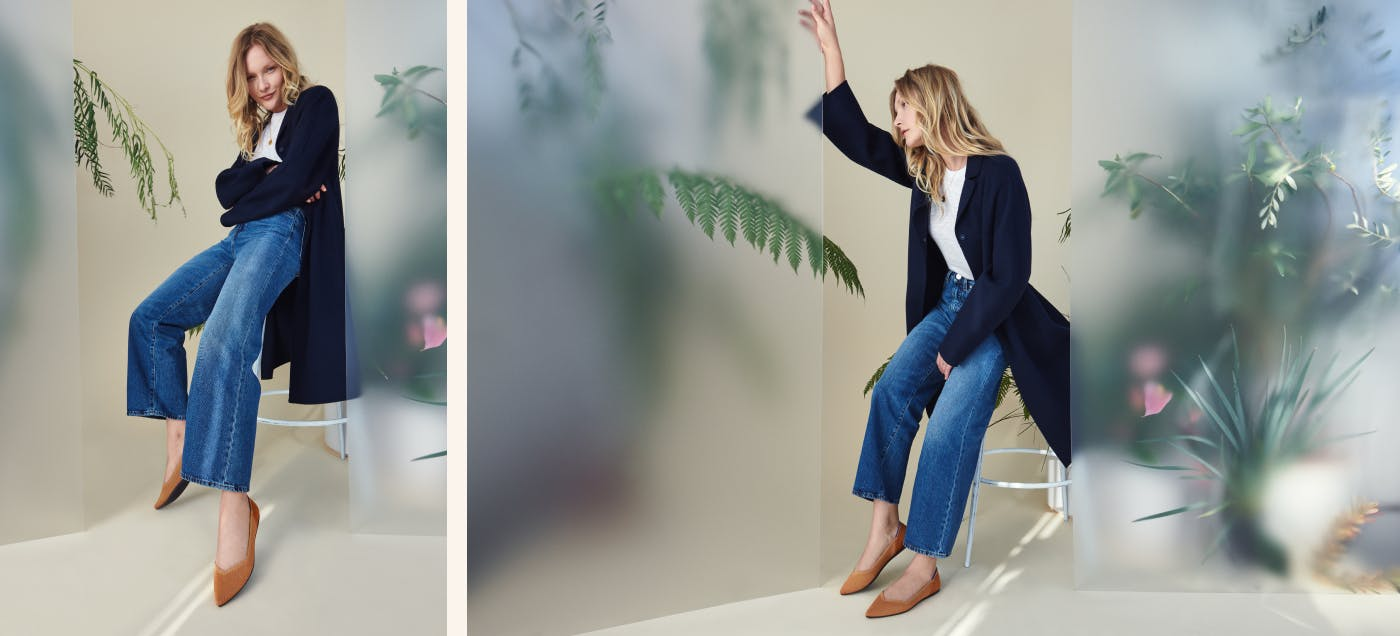 Two views of a model sitting on a stool wearing The Point in Fawn, against a translucent screen background with plants.