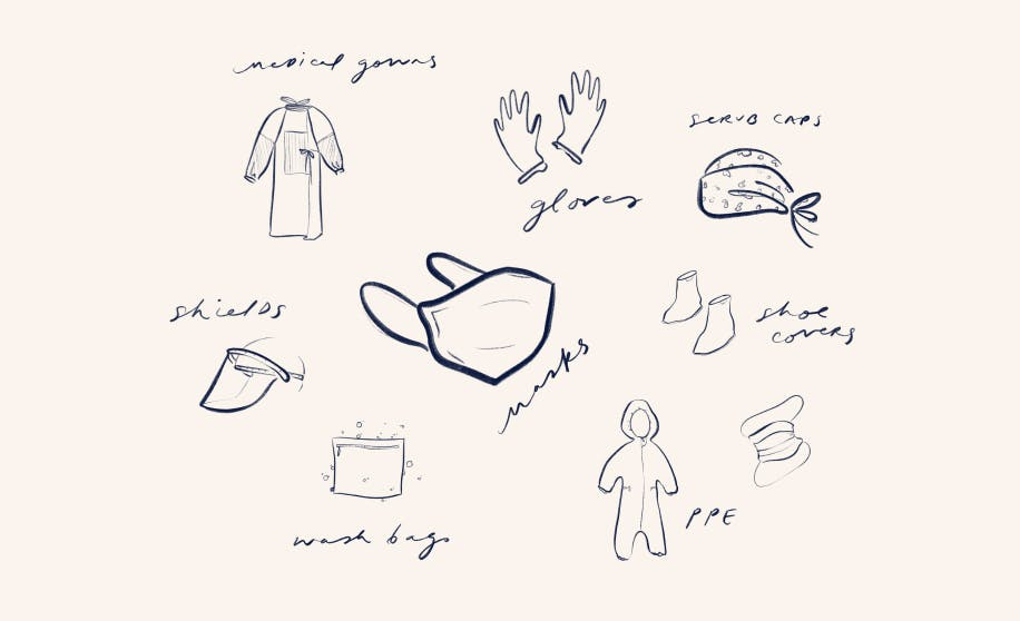Image showing illustrations of masks, PPE, wash bags, medical gowns and gloves.
