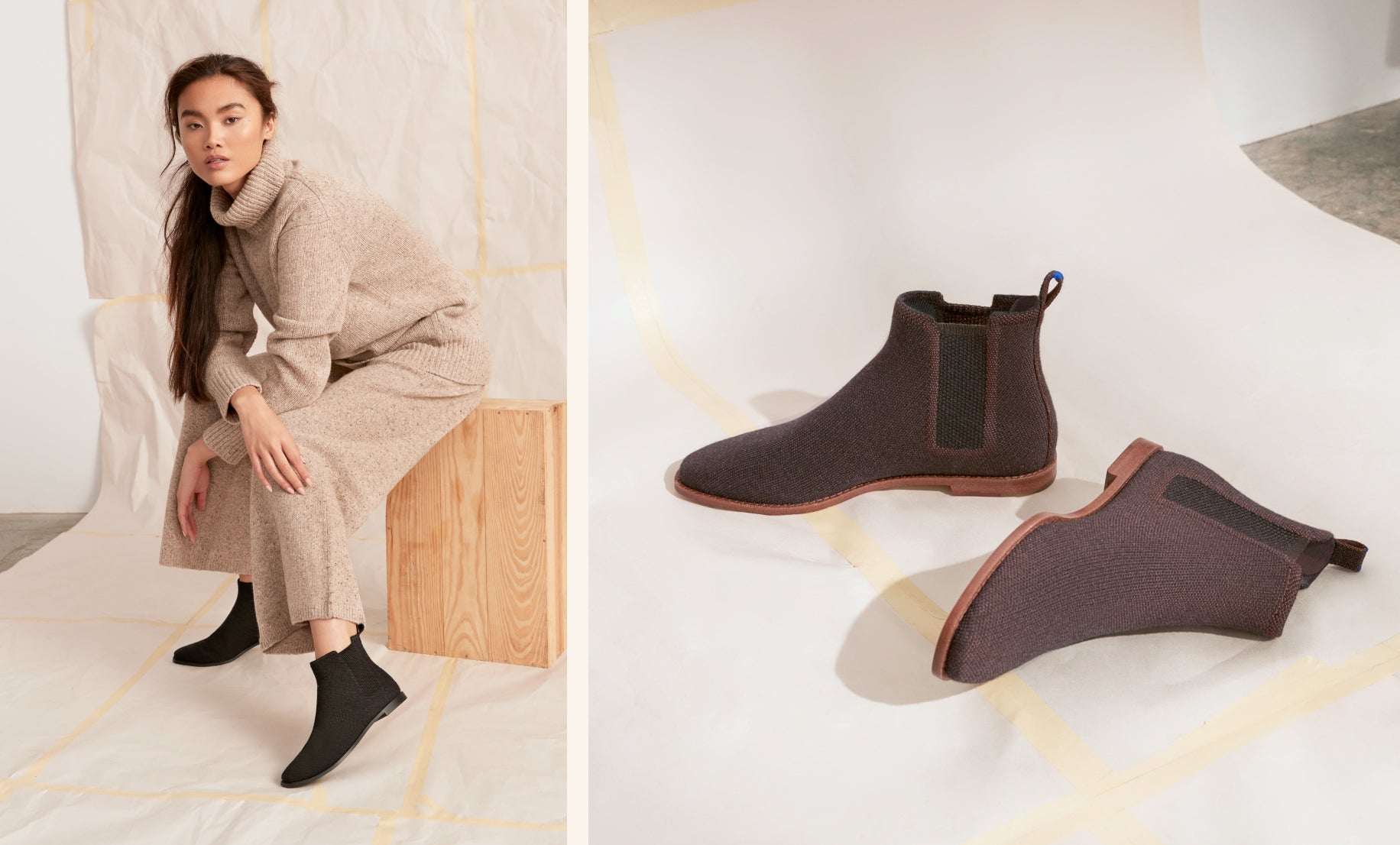 On the left, model sitting on a wooden block wearing The Merino Ankle Boot in Onyx Black. On the right, close up of The Merino Ankle Boot in Cocoa Brown on papered flooring.