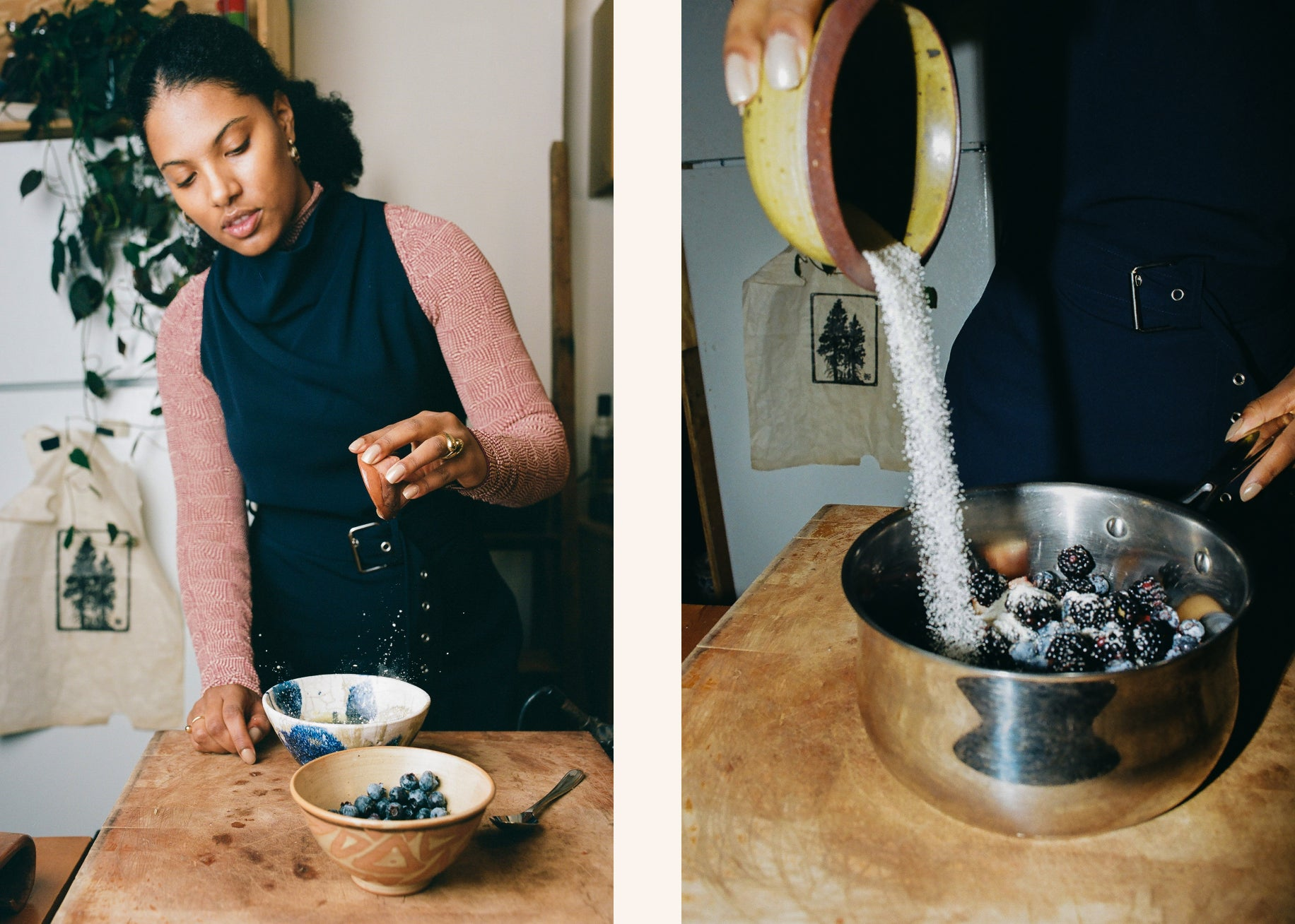 On the left, Chef Tara juicing an orange in a bowl. On the right. Chef Tara pouring sugar into a pot filled with berries.