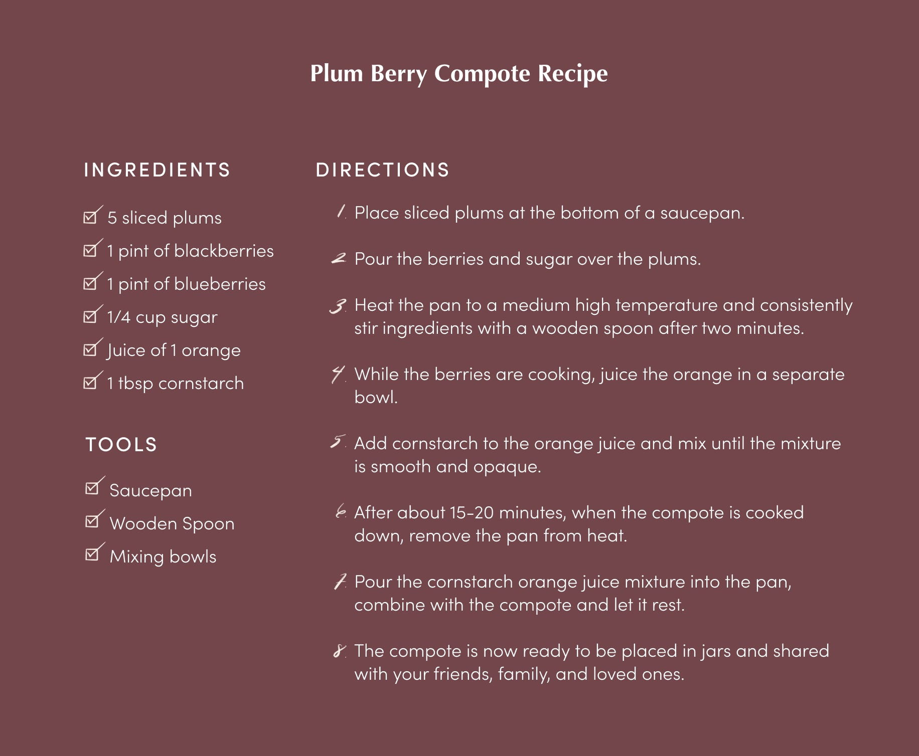 Plum berry compote step-by-step recipe.